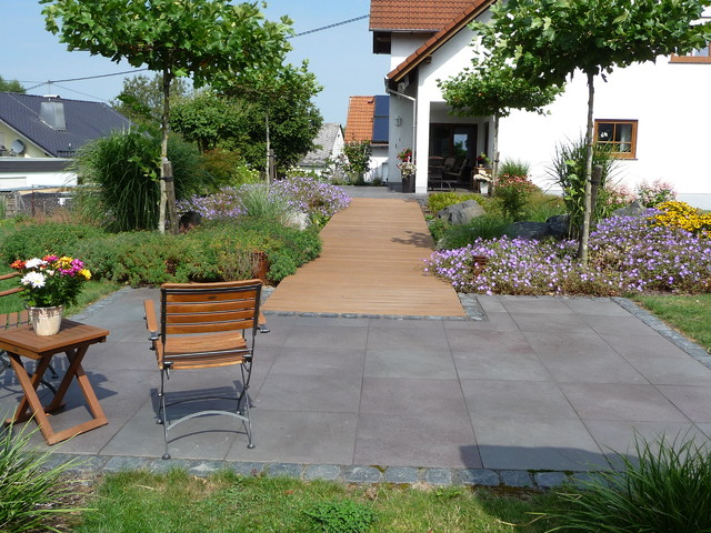 schoner garten terrasse, schöner garten mit natursteinmauer - modern - terrasse - frankfurt, Design ideen