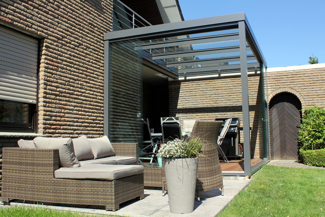 terrassen berdachung flachdach mit glas contemporary terrace - Terrassenuberdachung Modern