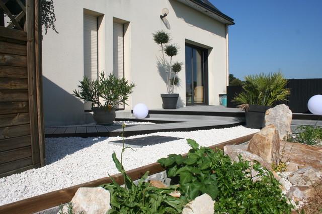 Super Aménagement d'une terrasse en bois composite gris - Moderne  JW41