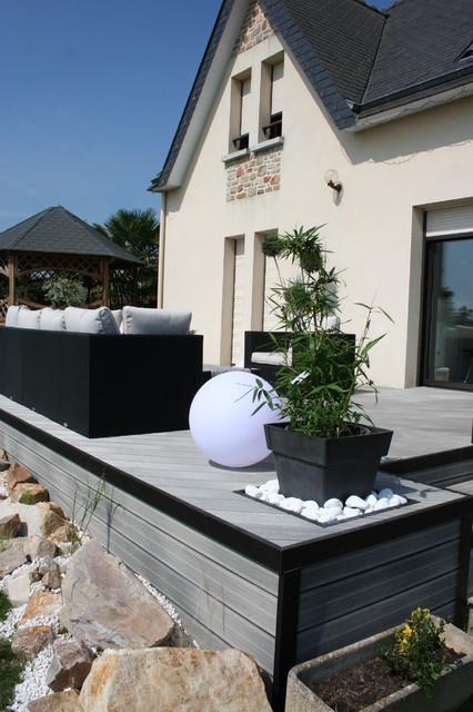 Aménagement D Une Terrasse En Bois Composite Gris Modern