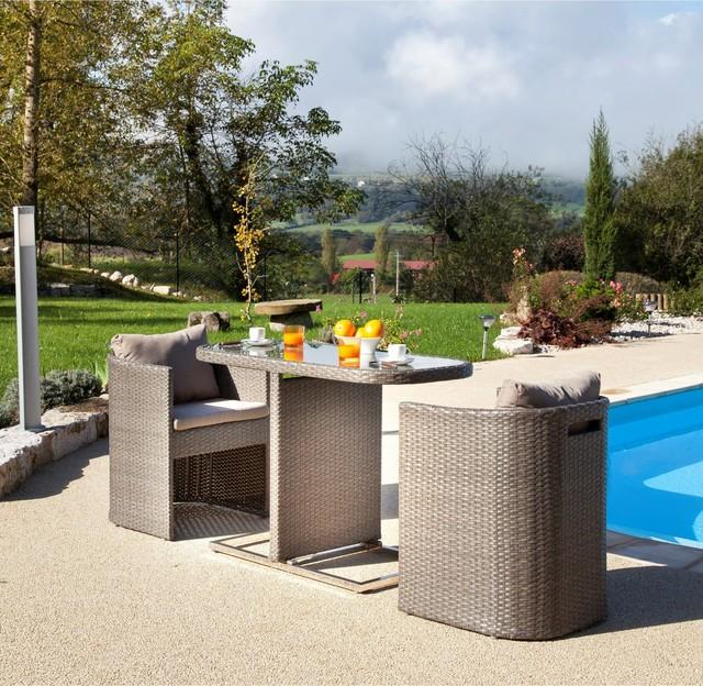 Bari 3 Petite Table Pour Balcon Avec Fauteuils Arrondis