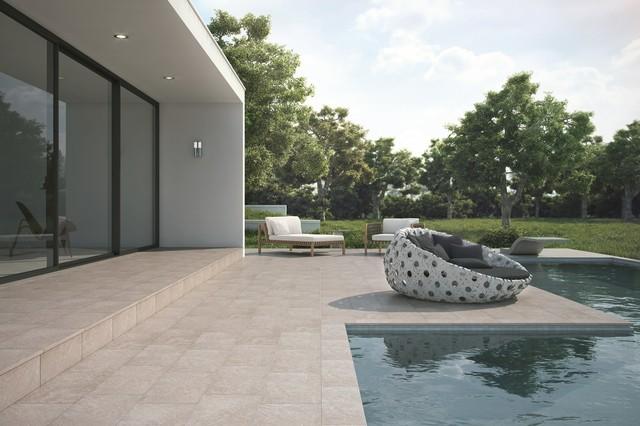 Carrelage ext rieur piscine m diterran en terrasse for Terrasse piscine carrelage