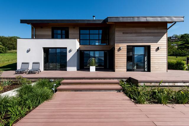 contemporain terrasse en bois et balcon. Black Bedroom Furniture Sets. Home Design Ideas