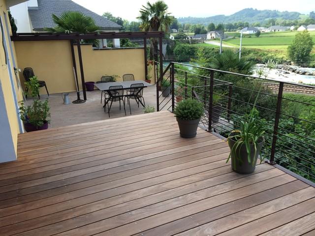cr ation d 39 une terrasse ossature m tallique planch bois contemporain terrasse en bois. Black Bedroom Furniture Sets. Home Design Ideas
