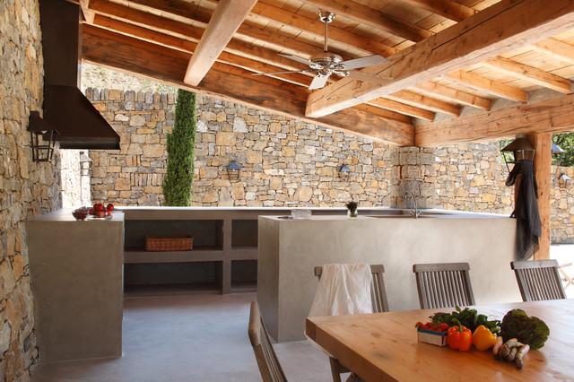 Cuisine d\'extérieur en béton ciré - Modern - Terrasse ...