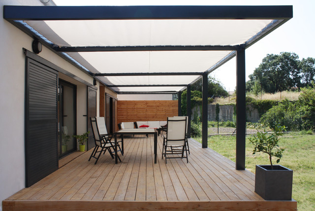 Extension contemporaine ossature bois et r novation d for Extension sur terrasse