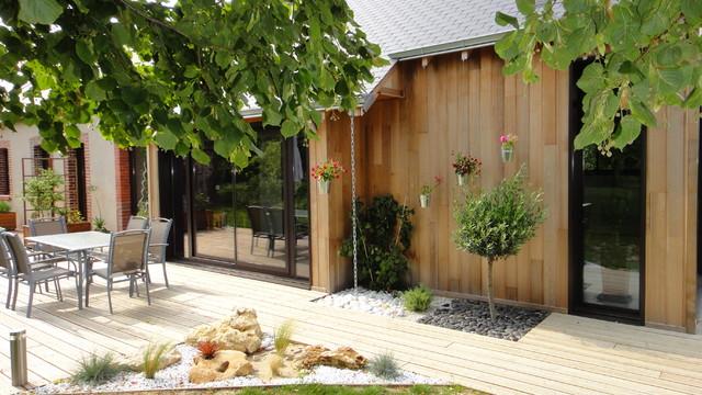 extension d 39 une long re campagne terrasse en bois autres p rim tres par le drein courgeon. Black Bedroom Furniture Sets. Home Design Ideas