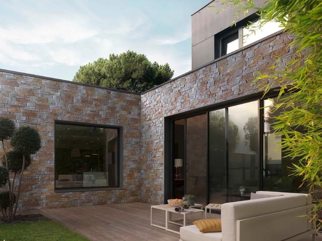 Fa ades et murs en pierre s che tahoe contemporain - Maison en pierre seche ...