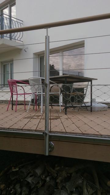 Garde-corps inox à remplissage câble et filet inox pour terrasse ...