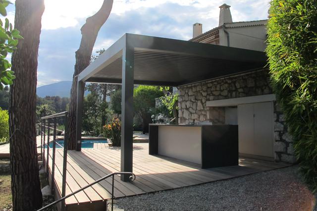 pergolas bioclimatique cuisine d 39 t m diterran en. Black Bedroom Furniture Sets. Home Design Ideas