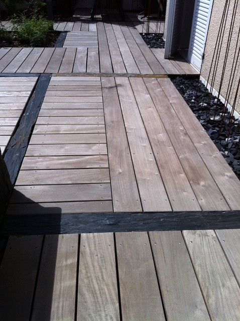 Ponton bois et pierre patio lyon by exotek design for Amenagement jardin 200m2