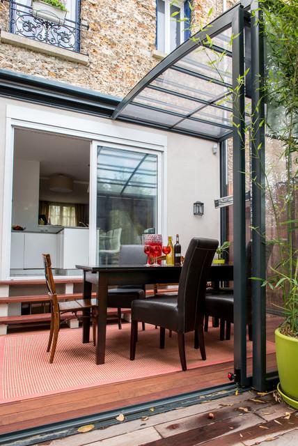 R novation d 39 une maison en meuli re contemporain - Idee terrasse exterieure contemporaine ...