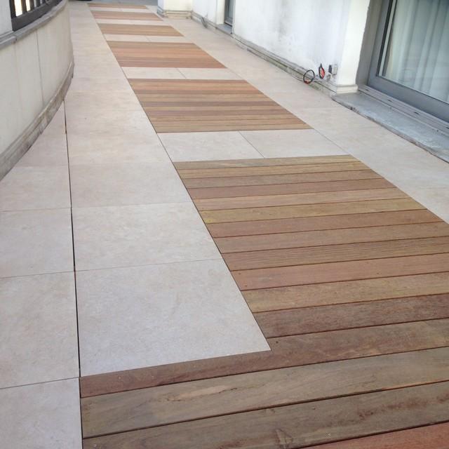 terrasse mixte bois et dalles contemporain terrasse et patio paris par balcons et. Black Bedroom Furniture Sets. Home Design Ideas