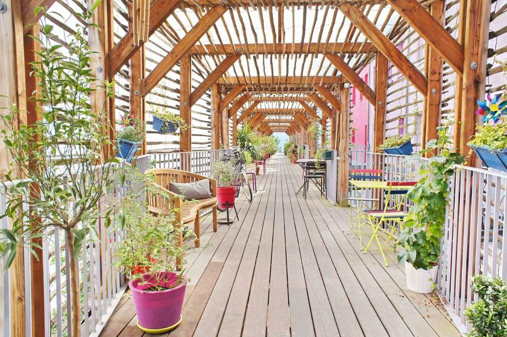 Exemple d'une très grande terrasse avec des plantes en pots tendance avec une pergola.