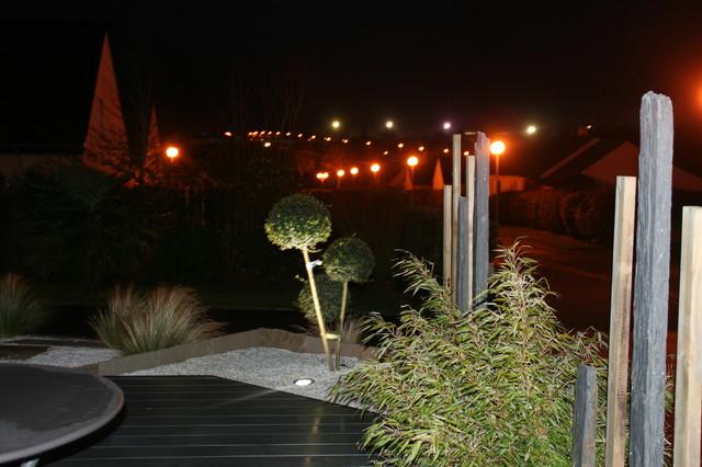 Vue bout de terrasse avec piquet ardoise et bambou - Contemporain ...