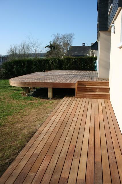 Zoom sur la partie liaison avec escalier intégré  Tropical  Deck  other me -> Acheter Table Relevable Bois Type Architecte
