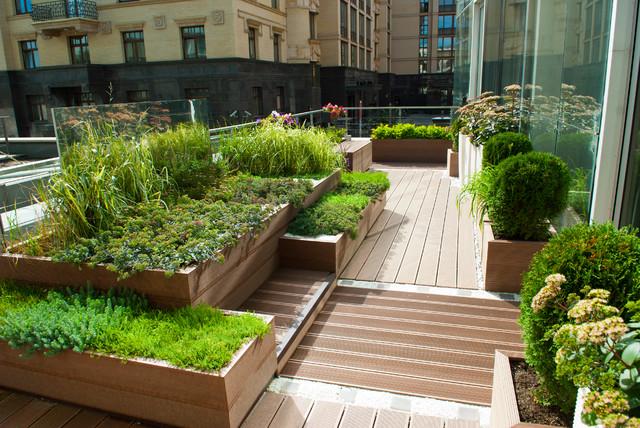 Imagen de terraza actual, sin cubierta, con jardín de macetas