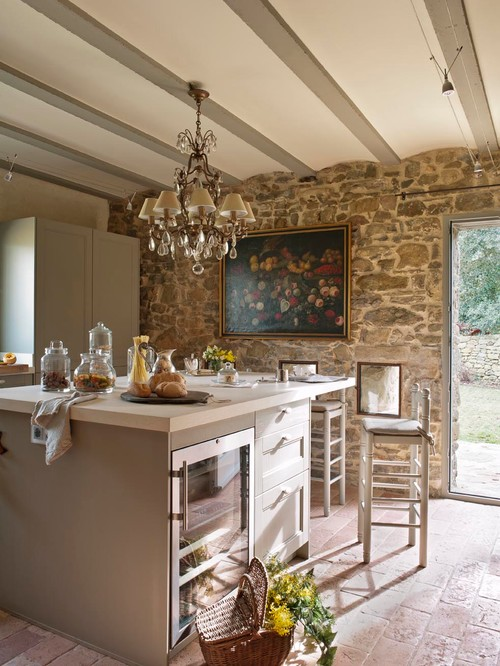 Contemporary Farmhouse Kitchen with Natural Stone Wall and Chandelier