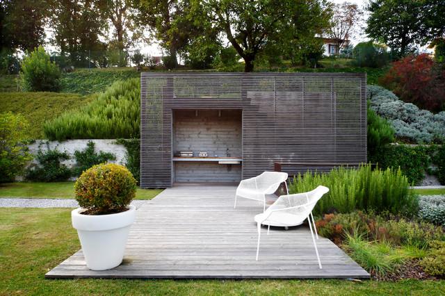 Facciate in legno moderno terrazza milano di for Galimberti case legno