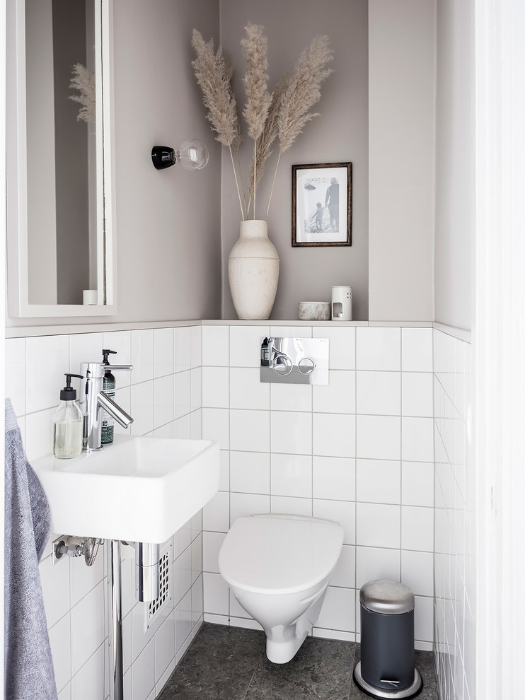 Example of a small danish powder room design in Gothenburg
