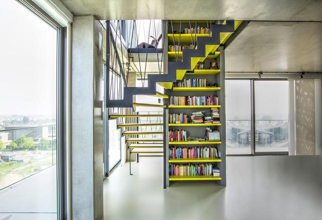 moderne treppe bucherregal, moderne, halbgewendelte podesttreppe mit stahlwangen & integriertem, Design ideen