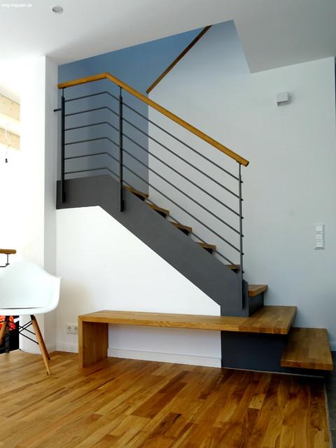 Beliebt Moderne Treppe aus Stahl & Holz mit integrierter Bank - Modern AX69