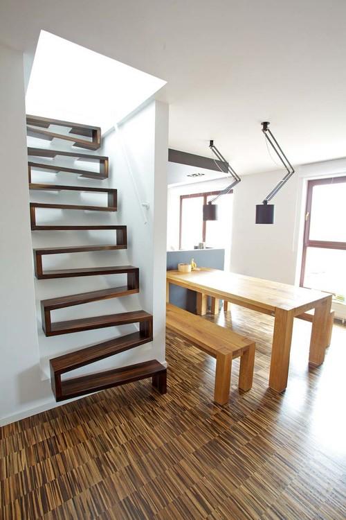 Dark wood zig zag staircase