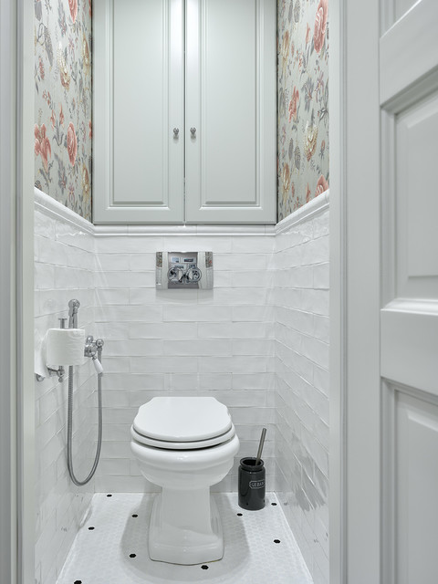 Inspiration for a timeless white tile mosaic tile floor and white floor powder room remodel in Moscow with raised-panel cabinets, gray cabinets, multicolored walls and a two-piece toilet