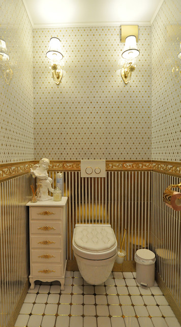 Inspiration for a timeless white tile and multicolored tile powder room remodel in Yekaterinburg with a wall-mount toilet