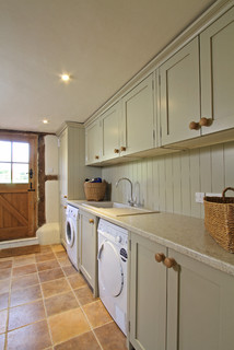 Handmade In-Frame Kitchen in Old White - Farmhouse - Laundry Room - Hampshire
