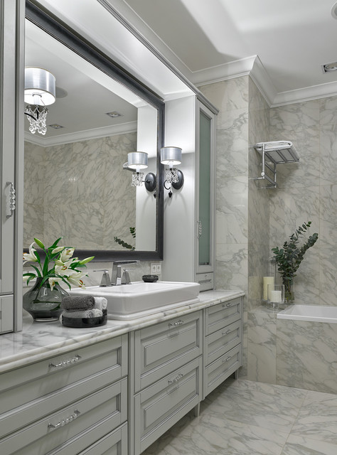 Inspiration for a timeless master white tile marble floor drop-in bathtub remodel in Moscow with recessed-panel cabinets, white cabinets, white walls, a vessel sink and marble countertops