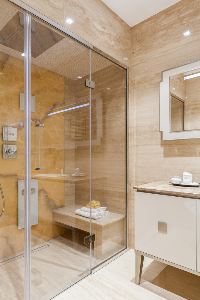 Design ideas for a contemporary bathroom in Moscow with flat-panel cabinets, white cabinets, with a sauna, beige floor and beige benchtops.
