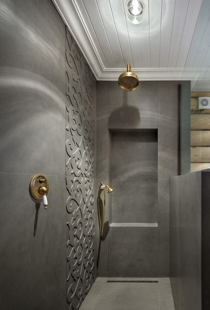 Inspiration for a contemporary gray tile alcove shower remodel in Yekaterinburg