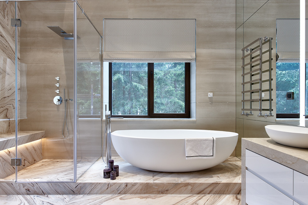 Inspiration for a contemporary master beige tile beige floor bathroom remodel in Moscow with flat-panel cabinets, white cabinets, a vessel sink and a hinged shower door