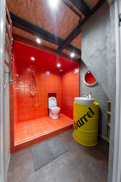 Small urban 3/4 red tile bathroom photo in Saint Petersburg with yellow cabinets, a two-piece toilet, gray walls and a vessel sink