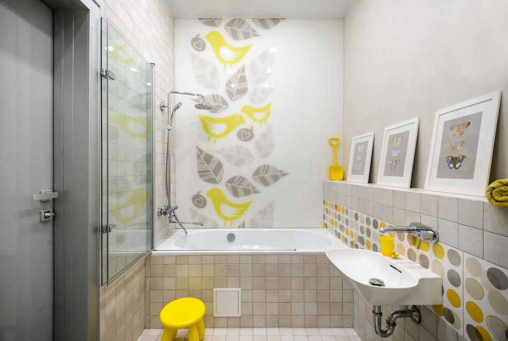 Bathroom - contemporary gray tile, white tile and yellow tile beige floor bathroom idea in Novosibirsk with a wall-mount sink, a hinged shower door and white countertops