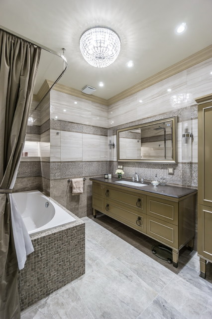 Inspiration for a mid-sized timeless master gray tile and porcelain tile porcelain floor bathroom remodel in Moscow with an undermount sink, solid surface countertops and brown cabinets