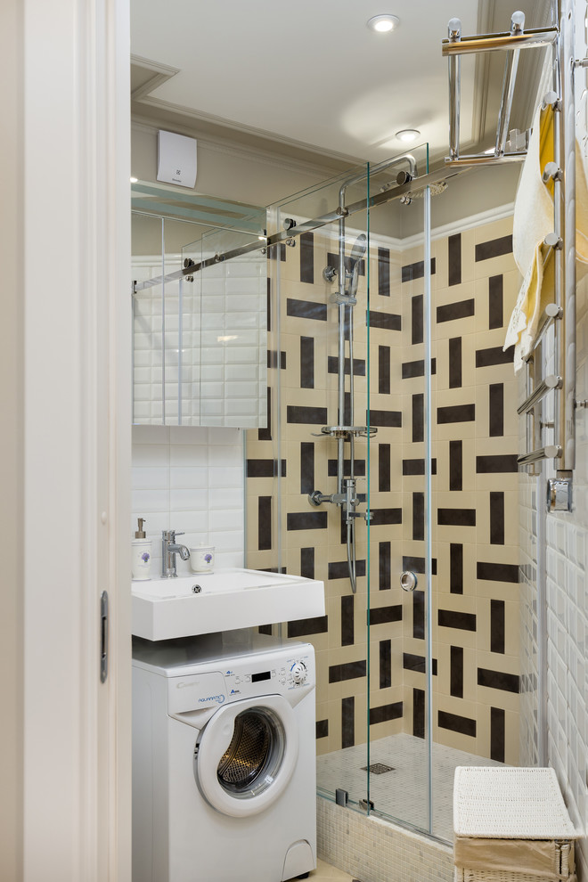 Small transitional 3/4 white tile, beige tile and subway tile bathroom photo in Moscow with a wall-mount toilet and a wall-mount sink