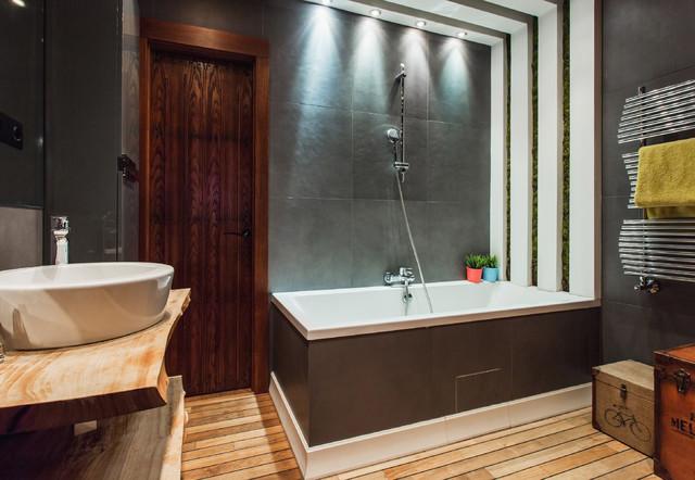 Коричневая спальня, дизайн интерьера, в коричневых 754