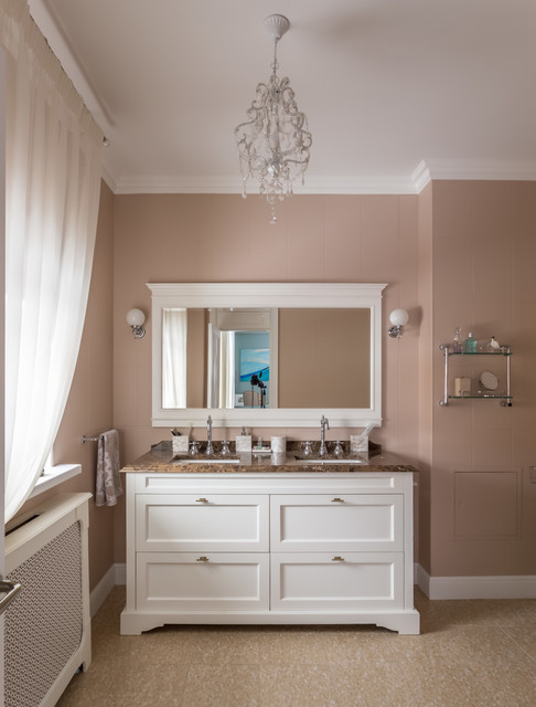Example of a classic brown tile bathroom design in Moscow with recessed-panel cabinets, white cabinets, an undermount sink, brown walls and brown countertops
