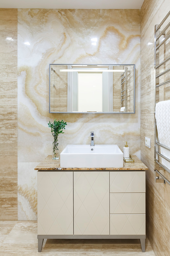 Transitional beige tile and stone slab travertine floor and beige floor bathroom photo in Moscow with flat-panel cabinets, beige cabinets, a vessel sink and beige countertops