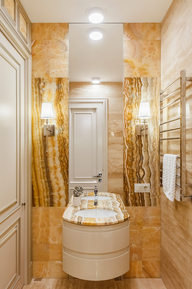 Transitional yellow tile and stone slab beige floor and travertine floor bathroom photo in Moscow with white cabinets, an undermount sink, onyx countertops and beige countertops
