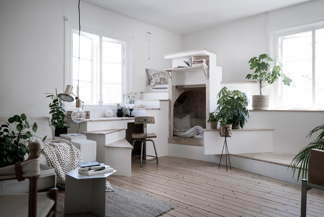 Design Ideas For A Small Scandinavian Formal Open Plan Living Room In Gothenburg With White Walls