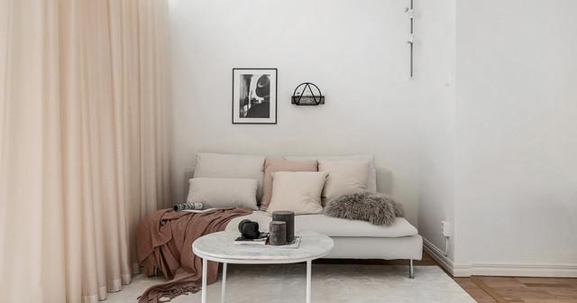 Idee per un piccolo soggiorno scandinavo con pareti bianche, pavimento in legno massello medio, nessun camino e nessuna TV