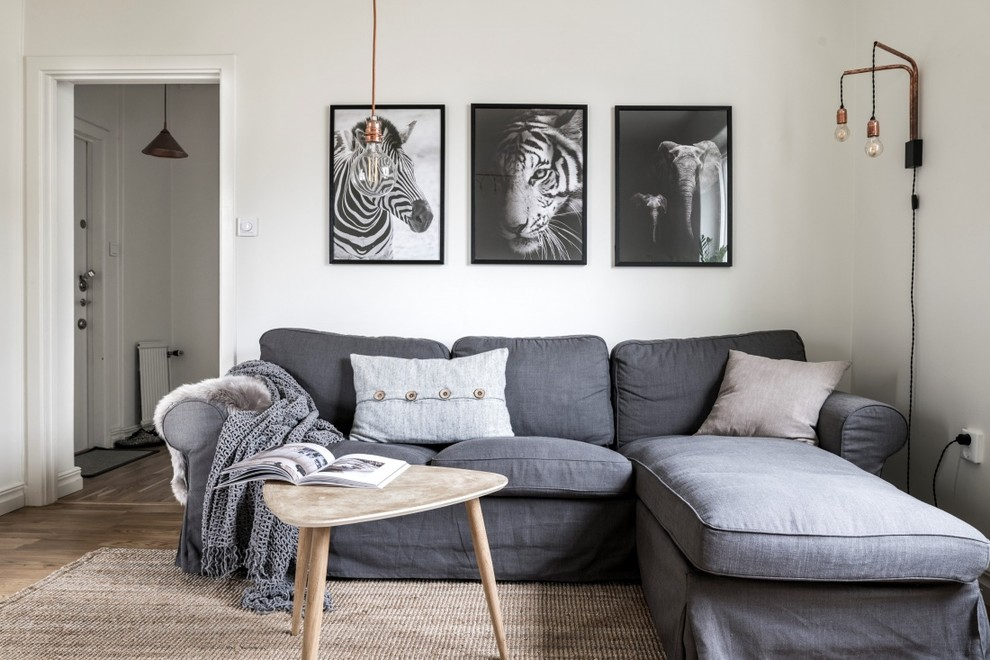 Inspiration for a small scandinavian light wood floor and beige floor living room remodel in Stockholm with white walls