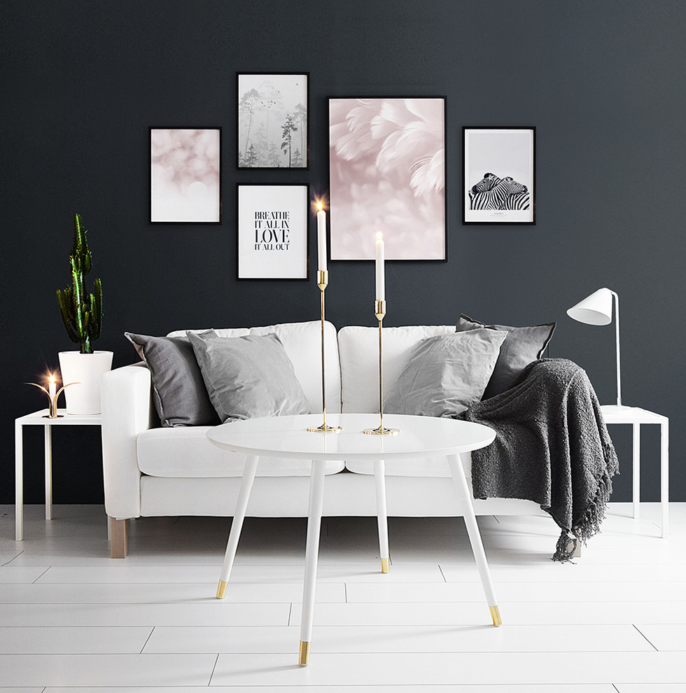 Danish formal and open concept painted wood floor living room photo in Other with black walls, no fireplace and no tv