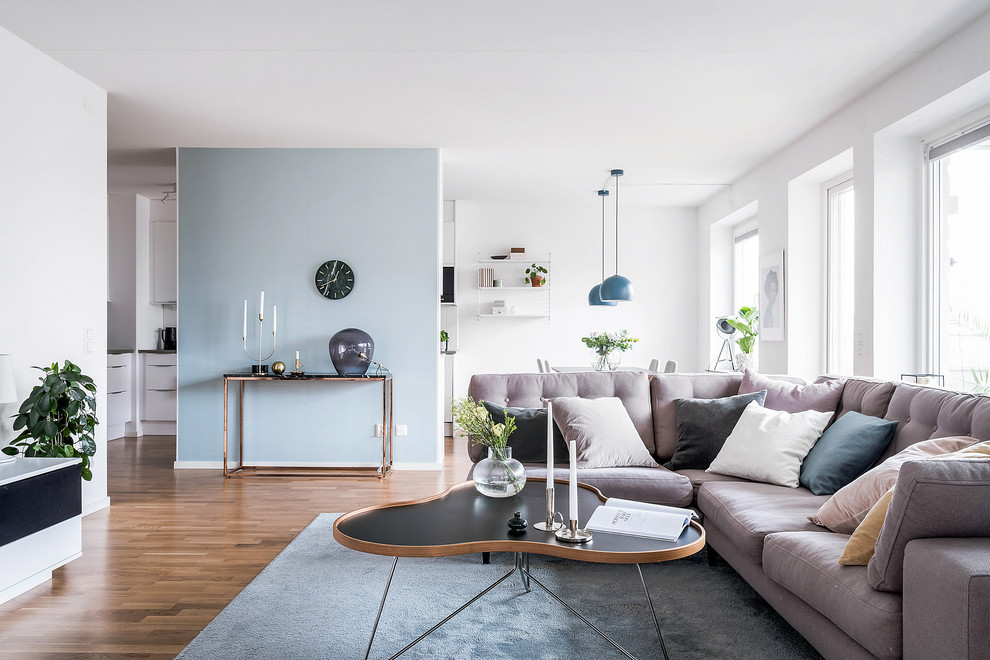 Danish medium tone wood floor and brown floor living room photo in Gothenburg with blue walls