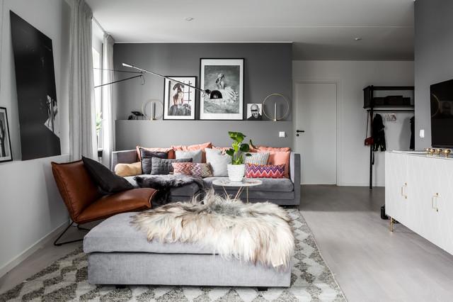 Idéer för mellanstora skandinaviska separata vardagsrum, med grå väggar och marmorgolv