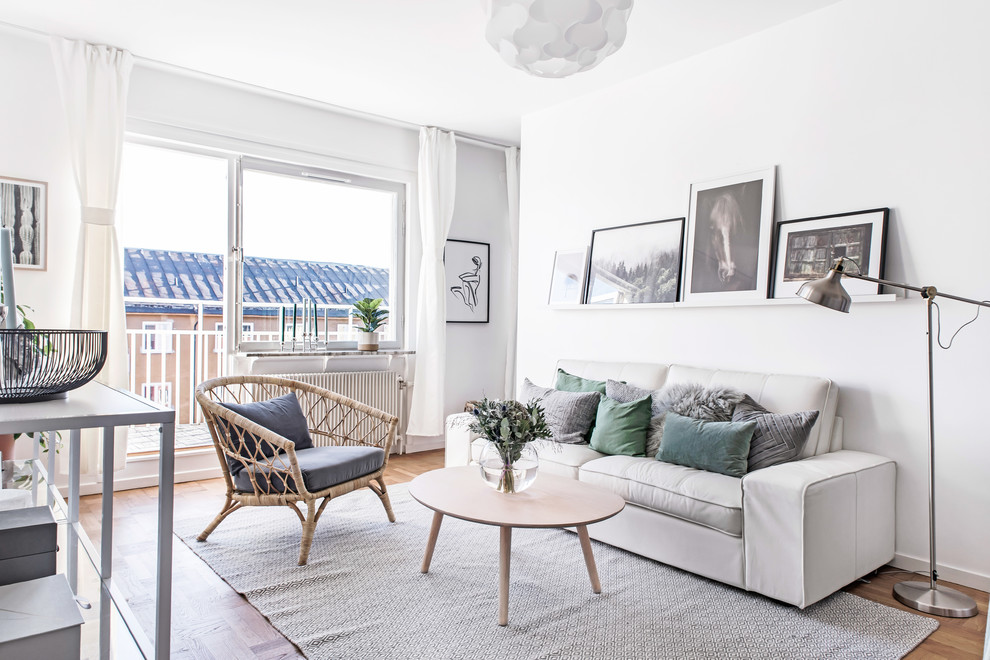 Inspiration for a mid-sized scandinavian enclosed medium tone wood floor and brown floor living room remodel in Stockholm with white walls