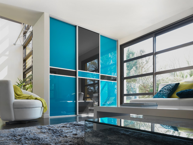 portes de placard coulissantes bleu lagon et verre laqu graphite sifisa. Black Bedroom Furniture Sets. Home Design Ideas